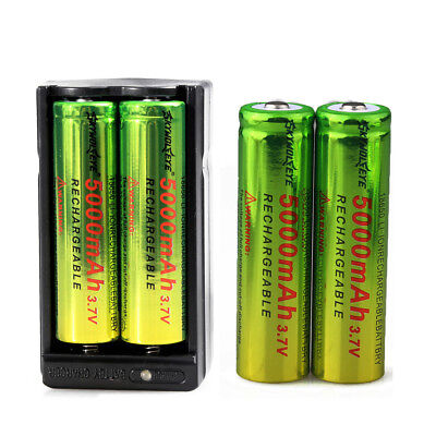 4pcs Skywolfeye Rechargeable 3.7v 5000mAh 18650 Li-ion Battery + Dual Charger