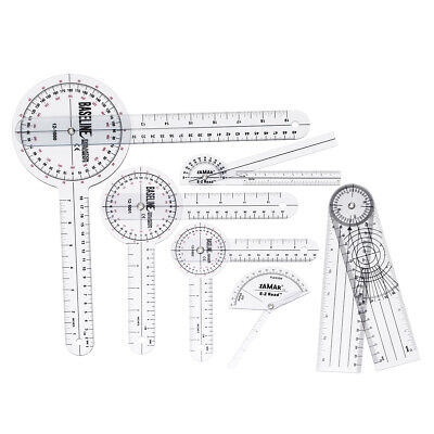 6pcs Medical Spinal Ruler 12/8/6 inch Set Goniometer Angle Protractor 3