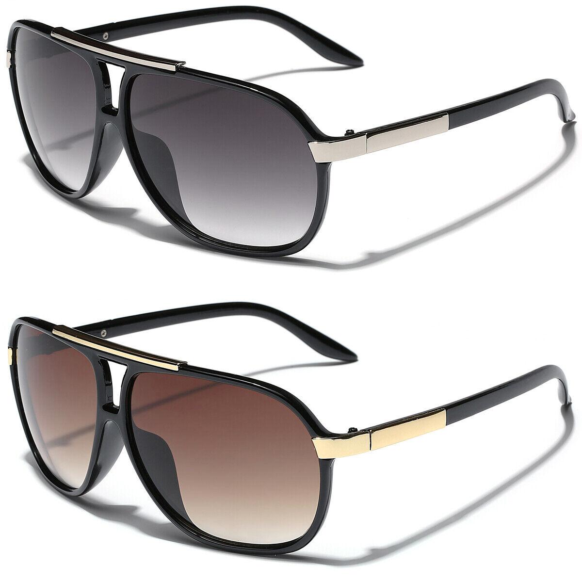 Retro 80s Fashion Aviator Sunglasses Black White Brown Men W