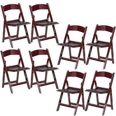 Used 8 Mahogany Folding Resin Chair Waterproof Vinyl Padded Seat Party Chairs
