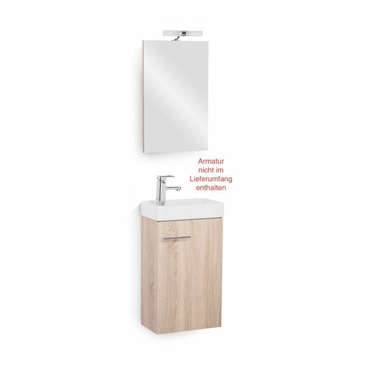 Gäste WC Set Gästebad Badmöbel Waschbecken Waschtisch Spiegel Beleuchtung Eiche