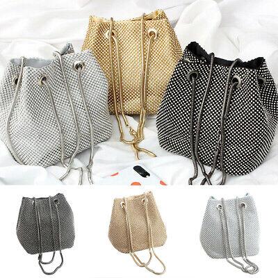 - US Women Girls Diamond Large Bucket Evening Banquet Shoulder Crossbody Bag New
