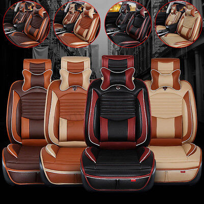 Deluxe US 5 Seats Car PU Leather+Comfort Mesh Seat Covers Front + Rear + Pillows