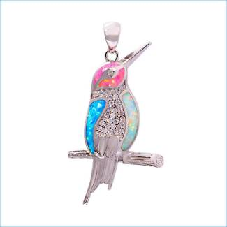 MULTI FIRE CREATED OPAL STERLING SILVER 925 KINGFISHER PENDANT.