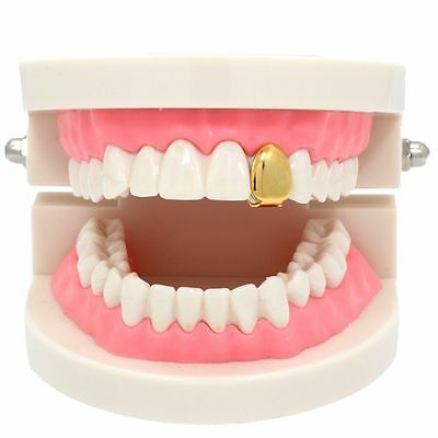 New 14k Gold Plated Small Single Tooth Plain Canine Cap Grillz Hip Hop - Gold Teeth Caps