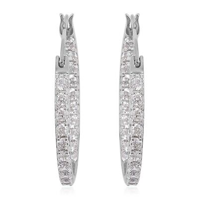 New 925 Sterling Silver Round White Cubic Zirconia Hoop Earring Cttw 1.8