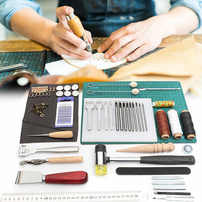 44x Leather Craft Tools Set Hand Stitching Sewing Stamping Saddle A4 Cutting Mat