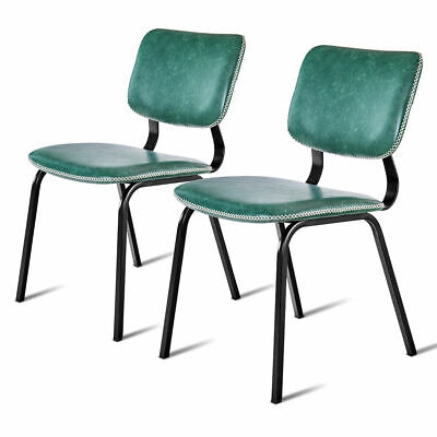Set of 2 Dining Side Chairs PU Leather w/ Metal Legs Dining Room Furniture Green