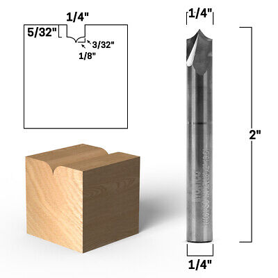 14 Radius Point Round Over Groove Router Bit - 14 Shank - Yonico 14061-sc