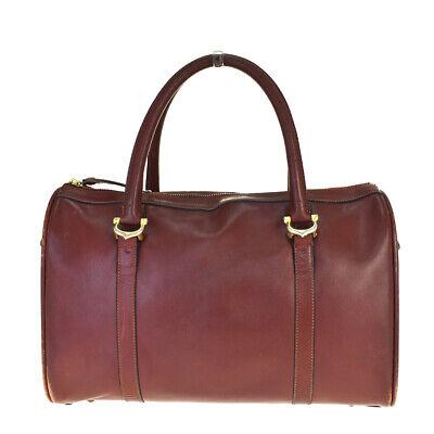 Authentic Must De Cartier 2C Hand Bag Leather Bordeaux Gold-tone Italy 01BP041