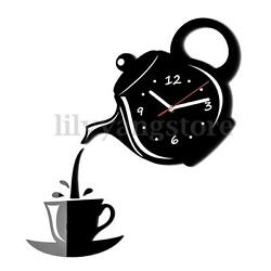 Modern Teapot & Cup Acrylic Large Black Wall Clock Home Kitchen Dining Room Deco