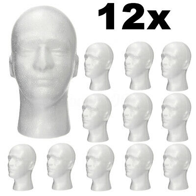12pcs Male Styrofoam Foam Mannequin Manikin Head Wig Display Hat Glasses Stand