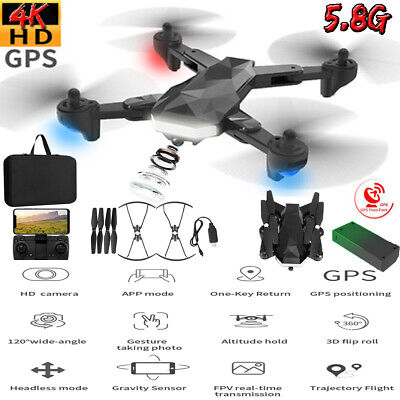 US 5.8G WIFI GPS Drone + Bag with 4K HD Camera RC Quadcopter FPV Well-versed Follow