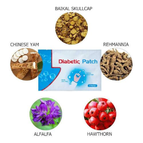6Pcs Diabetic Patches Herbal Cure Lower Blood Glucose Diabetes Plaster Patch US - $6.69