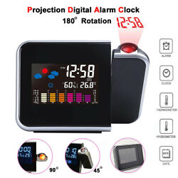 LED Projection Alarm Clock Digital Snooze Weather Thermometer LCD Color Display