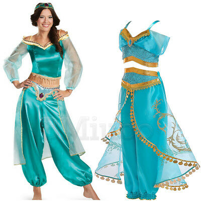 For Princess Jasmine Outfit Halloween Aladdin Cosplay Costume Girls Womans Dress](Jasmine Costumes For Teens)