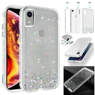 iPhone XR XS Max X Case Glitter Bling Clear Armor Heavy Duty Shockproof Cover](Plastic Bling)