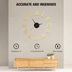 Mirror Surface Large Modern Wall Clock 3D DIY Roman Number Sticker Decor Clock