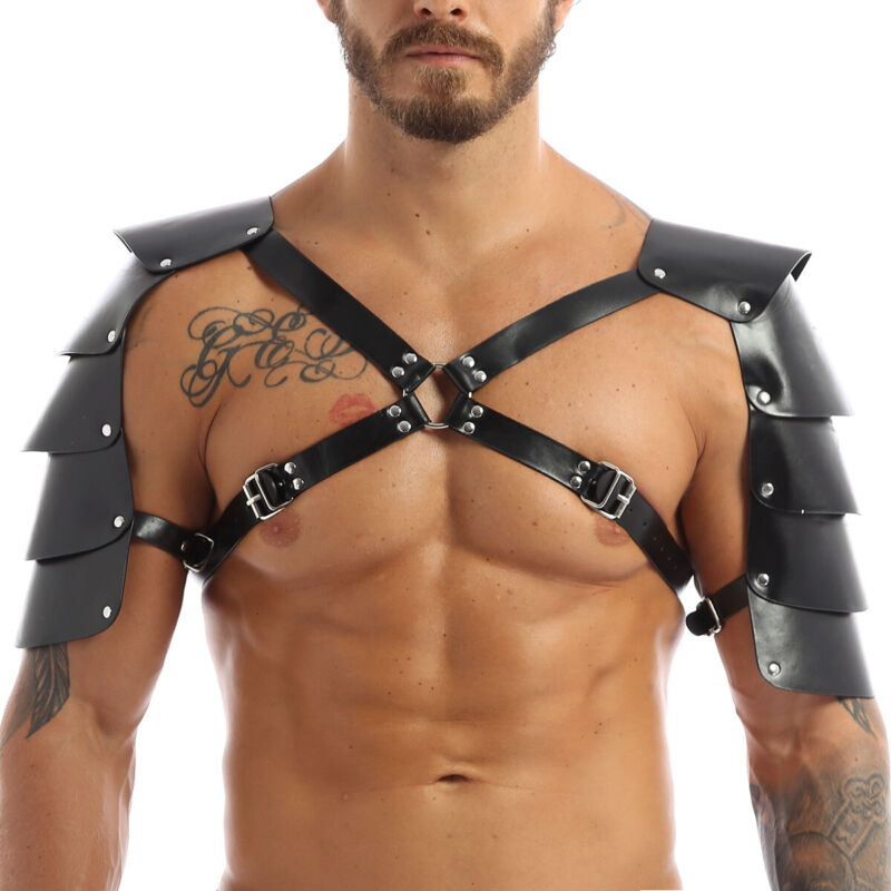 Men/'s Leather Chest Body Harness Gay Buckles Armor Belts Clubwear Costume
