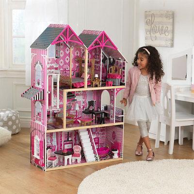 KIDKRAFT BELLA WOODEN KIDS DOLLHOUSE DOLLS HOUSE & FURNITURE FITS BARBIE NEW