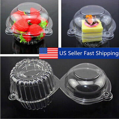 Mini Cake Boxes (100Pcs Mini Clear Plastic Cupcake Boxes Cake Packing Boxes Muffin Dome Box)