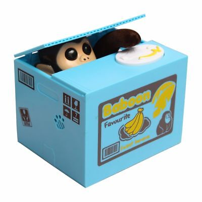 Funny Cute Monkey Steal Money Coin Saving Box Piggy Bank Kids Gift Toy