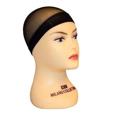 Milano Collection Professional Nylon Mesh Wig Stocking Liner Cap In Black 9 Pack](Wig Caps Bulk)