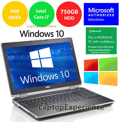 DELL LATiTUDE E6520 LAPTOP WINDOWS 10 WIN DVD INTEL i7 2.2GHz 8GB 750GB HD HDMI