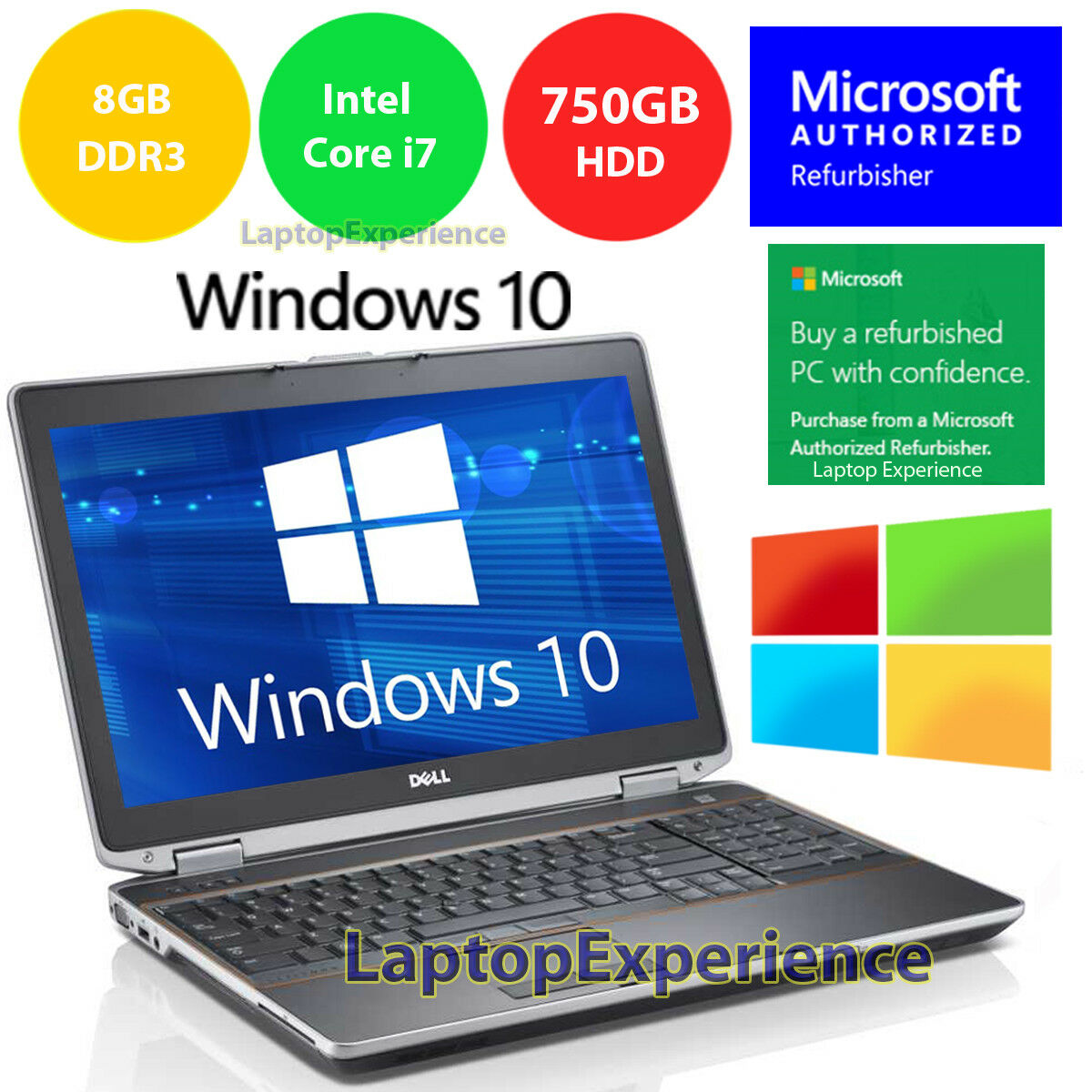 DELL LATiTUDE E6520 LAPTOP WINDOWS 10 WIN DVD INTEL i7 2.2GHz 8GB 750GB HD HDMI