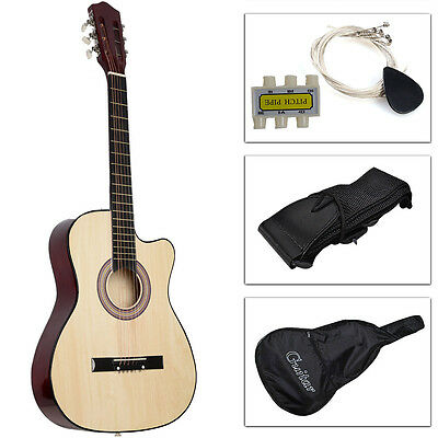 New Beginners Acoustic Guitar With Guitar Case, Strap, Tuner and Pick Beige on Rummage