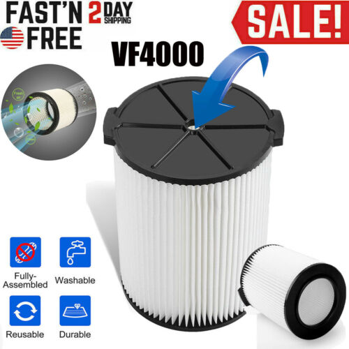 VF4000 Replacement RIDGID Washable Wet/Dry Vacuum Garage Shop Vac Pleated Filter