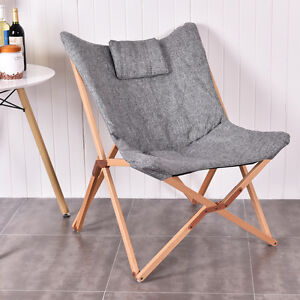 Folding Butterfly Chair Seat Wood Frame Home Office Furniture Portable Gray  NEW