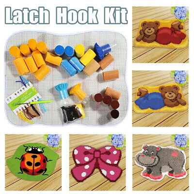 Hippo Bear Bowknot Latch Hook Kit DIY Cushion Carpet for Kids Adult Gift  (Bear Latch Hook Kit)