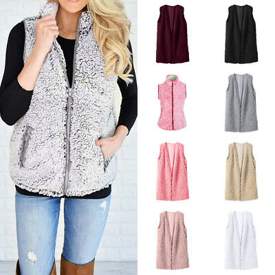 New Type Womens Vest Winter Warm Outwear Casual Faux Fur Zip Up Sherpa (Winter Type)