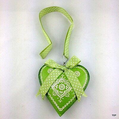 Corazón Chapa Claro Verde con Decoración Lazo Y Banda para Colgar