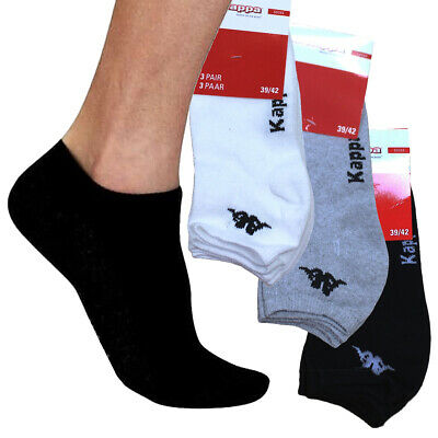 New Kappa Santio Unisex Sports Ankle Socks 3 Pair Pack White Black Grey RRP £20✅