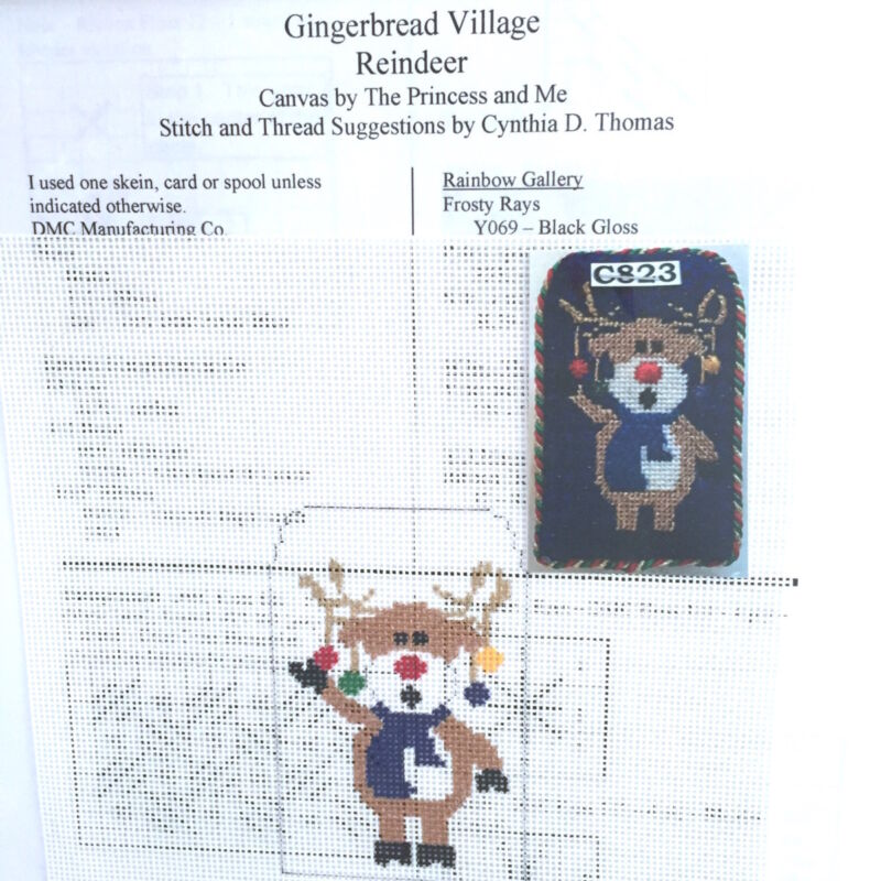 Hand painted Needlepoint Canvas Princess & Me Gingerbread Reindeer whimsical