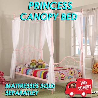FREE DELIVERY Single Size Princess Four Poster Canopy Bed NEW