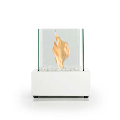 Bio Fires - Glass Cube White Bio Ethanol Tabletop Burner