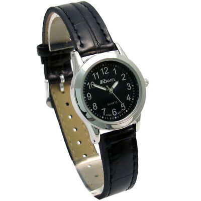 Ravel Ladies Super-Clear Easy Read Quartz Watch Black Face R0130.03.2