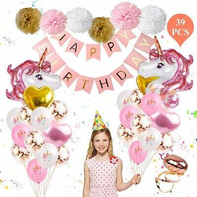 Unicorn Birthday Decorations Party Supplies Children's Pink Gold 39pc Set