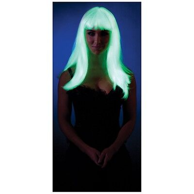Glow in the Dark Straight Wig Rave Costume Accessory Adult Halloween (Glow Dark Halloween Costumes)