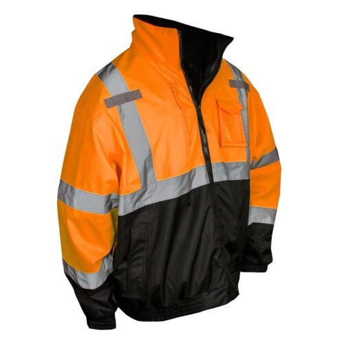 Radians Class 3 Black Bottom Safety Bomber Jacket, Hi-Vis Orange