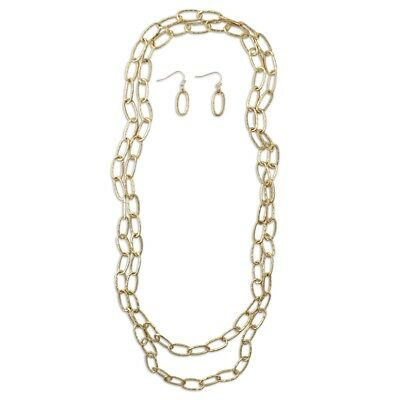 NEW Matte Goldtone & Long Hammered Link Double Layering Necklace and Earrings - Long Hammered Link Necklace