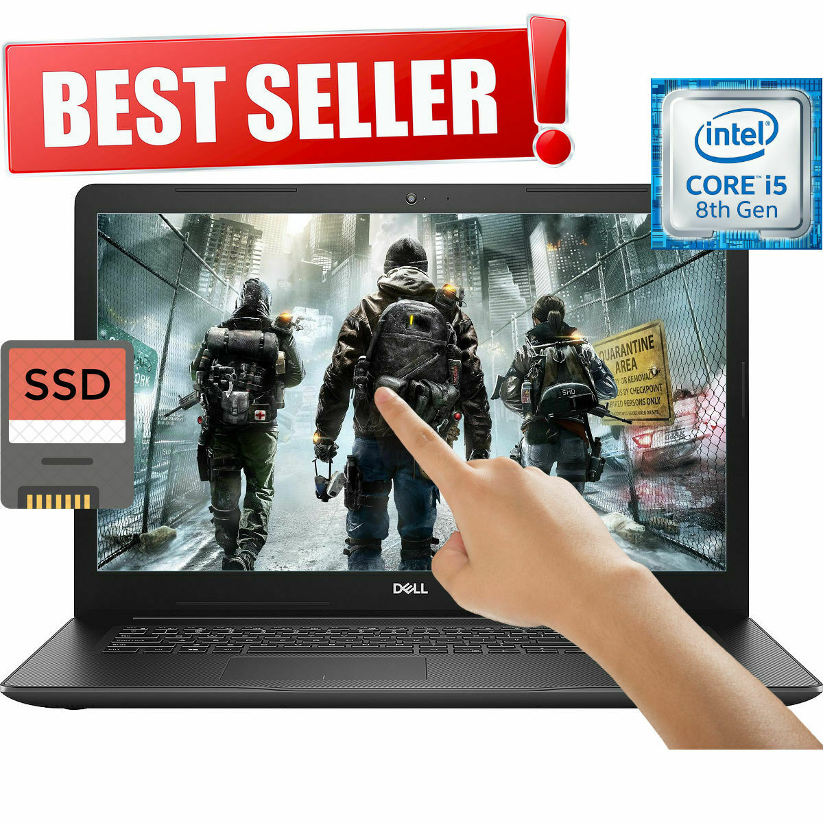 "NEW! DELL INSPIRON INTEL i5-8265U 3.90GHz 256GB SSD 8GB 15.6"" TOUCHSCREEN LAPTOP"