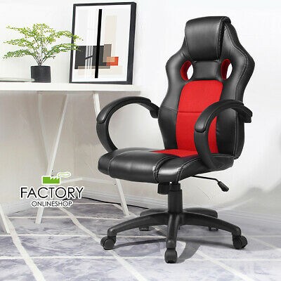 Racing Office Chair Swivel Leather High Back Gaming Computer Chairs Desk Seat