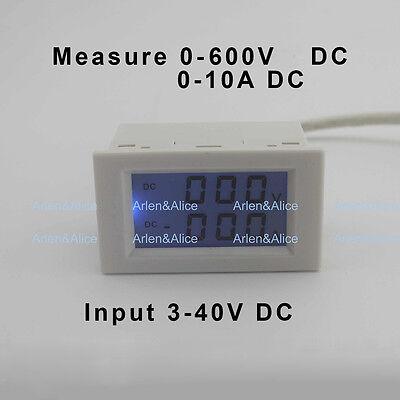 Dc Voltmeter Ammeter Range Dc 0-600v 0-10a Blue Backlight Dc 340 Input