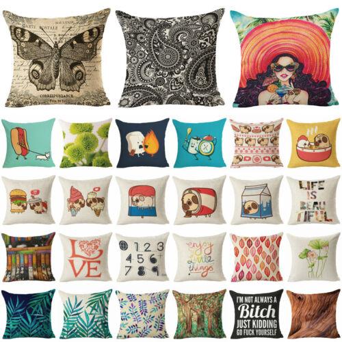 250 Style Cotton Linen Home Decor Pillow Case Sofa Waist Thr