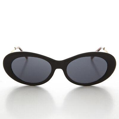 Oval Mod Cat Eye Vintage Retro Sonnenbrille Matt Schwarz und Gold Bügel -