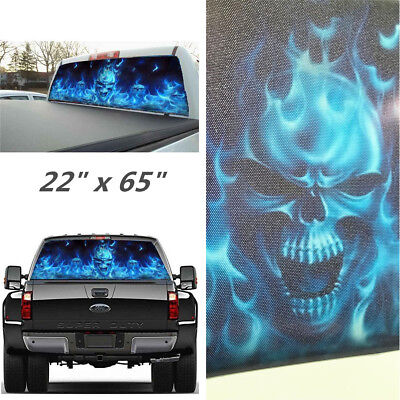 "Car Rear Window 22"" x 65"" Stickers Decal Skull Pattern Decorate For Pickup SUV  for sale  Shipping to Canada"